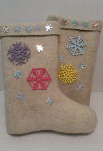 Валенки дизайнерские Цветные снежинки