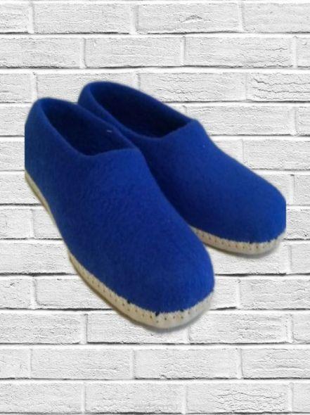 Тапочки валяные синие