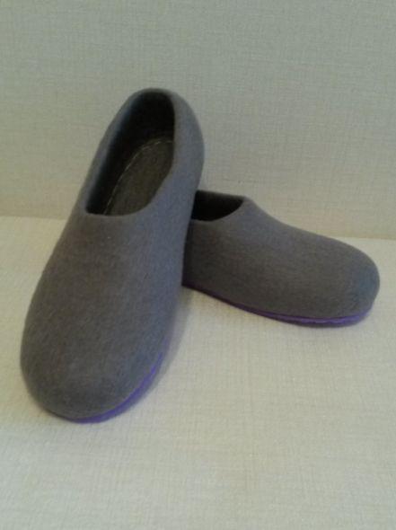 Тапочки валяные серые