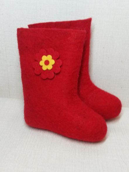 Валенки красные Цветочек