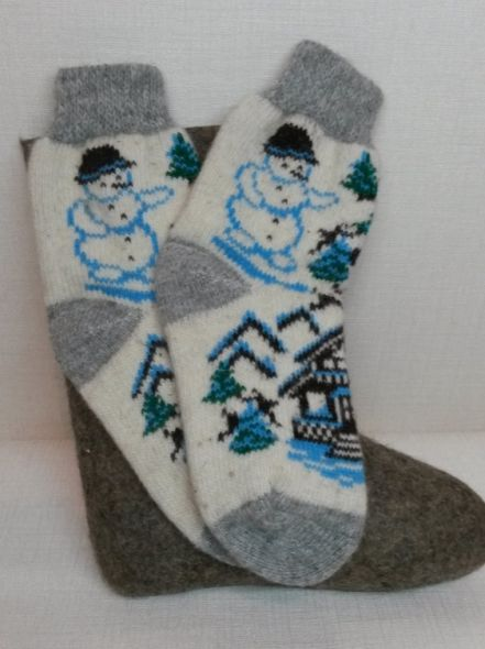 Носки шерстяные Снеговик 01