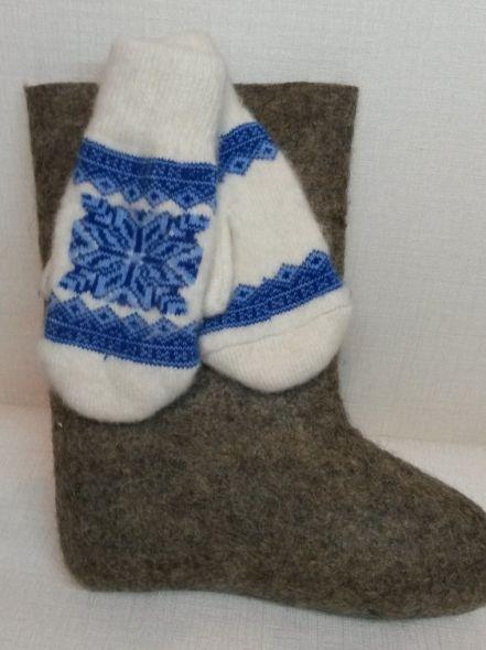 Варежки двойной вязки Снежинка