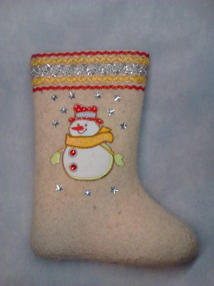 Валенки дизайнерские Веселый снеговик